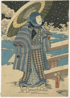 Woodblock Print, Part of a triptych: man with a parasol, 1854