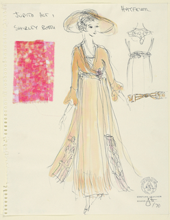 Vertical rectangle. Woman in tan dress, wide brimmed hat. Details of of back of the dress, at right. Left edge torn from spiral binder. Two swatches of pink fabric attached.