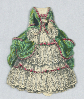 The outer layer of this gown is emerald green, and is lined with pink roses.  White lace peeks out from the sleeves as well as in mulitple tiers of the skirt. Both the back and front of this dress are depicted.
