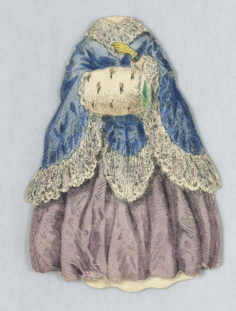 Paper doll costume with blue cloak trimmed in lace, light purple full skirt and ermine (?) muff. Costume is two-ply, with a front and back piece, and is open at the neck and bottom of the skirt where the doll slides in.