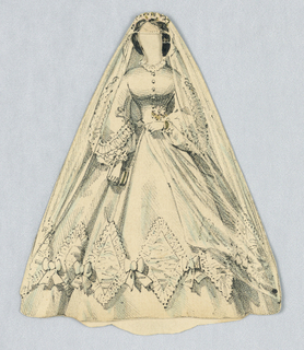 White veiled dress with full skirts and cinched waistline.  Bows and triangular lace adornments alternate across the bottom of the skirt. Veil extends to the floor.  Both front and back of this dress are depicted.
