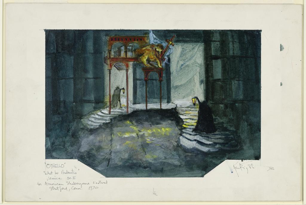 "Drawing, Stage Design: Venice, Scene 1, in ""Othello,"" for American Shakespeare Festival"