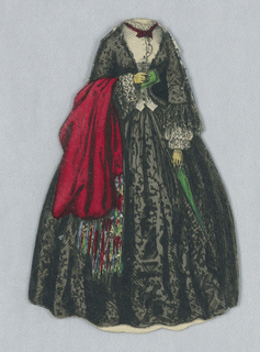 This paper doll dress is black patterned material with white on the front of the bodice.  A red shawl drapes over her right arm.  Both the back and front of the dress are depicted.