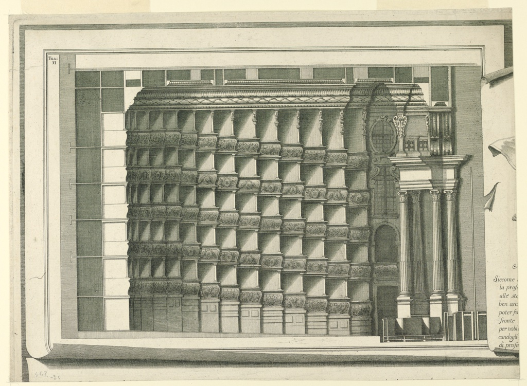 """Horizontal format architectural illustration. Plate II, upper part, left, similar to 1938-57-1385. At right is the left edge of an imaginary sheet, with the beginning of the lines of the heading of the engraving. The first line beings with """"Siccome,"""" the last with """"di profe..."""" Above, left of the imaginary sheet of plate II: """"Tan / II."""" Interior architectural details with decorated columns."""