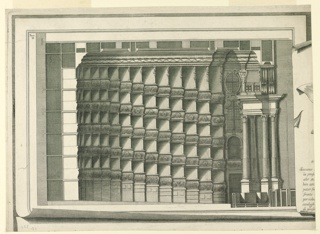"Horizontal format architectural illustration. Plate II, upper part, left, similar to 1938-57-1385. At right is the left edge of an imaginary sheet, with the beginning of the lines of the heading of the engraving. The first line beings with ""Siccome,"" the last with ""di profe..."" Above, left of the imaginary sheet of plate II: ""Tan / II."" Interior architectural details with decorated columns."