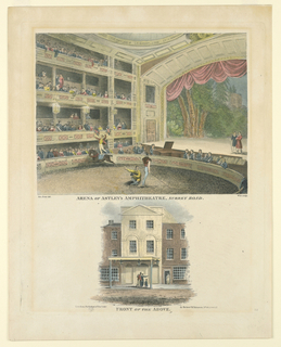 Print, Interior and Exterior Views of the Arena of Astley's Amphitheater, Surrey Road, London, 1815