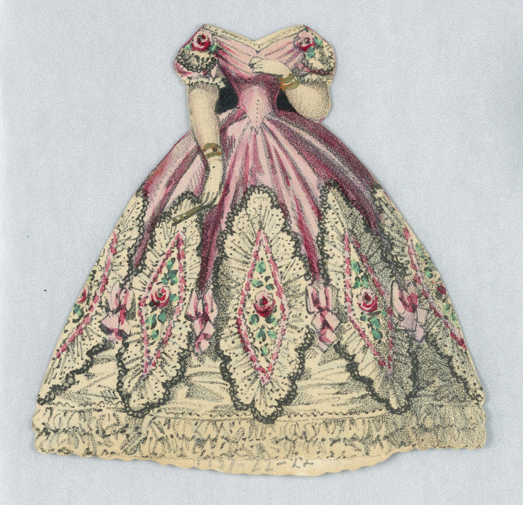 Pink satin gown with corseted waist and full skirt fades to a lacy white with bows and rose decorations.  Both back and front of paper doll costume represented.
