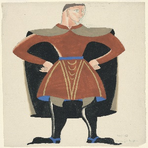 Costume design for the character Berthold (nicknamed Fino) for Luigi Pirandello's Henry IV. The character stands with his hands on his hips and his head turned in three-quarter view to the right. He is dressed in a red tunic with a blue belt. A cape that is brown on the outside and blue on the under-side is draped around his shoulders. He wears knee-high black boots.