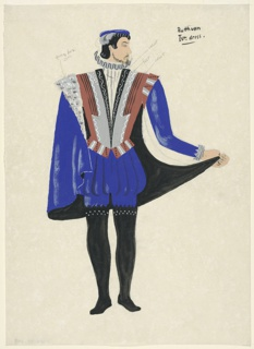 """Drawing, Costume Design: Ruthven, for """"Queen of Scots"""""""