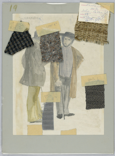 Vertical format. Figures of two bearded men wearing hats, somber-colored suits, carrying canes. Attached are five fabric swatches, each identified with graphite inscriptions on tape.