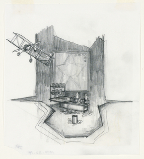 Vertical format. Act III, Scene 1, cutting room. A set for a thrust stage with airlane, upper left; framed star at rear. Two figures stand behind a counter handling rolls of film, with a trash can downstage.