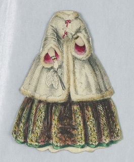 White fur lined coat with fur lining and pink bow at collar. A glimmer of her emerald and gold full skirt peek out from under her coat.  Her white gloved hands hold a fan and a handkerchief.  Both the front and back of this outfit represented.