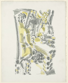 Illustration for Herman Melville's Benito Cereno. Two figures sit either side of a table, facing one another. A figure in the background faces a window. There are two goblets on the table. The image is shaded in gray and yellow.
