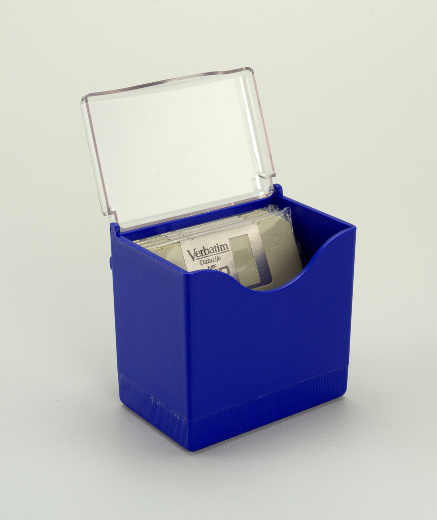 Blue upright rectangular box with clear, hinged lid.