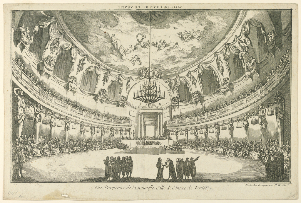"""Horizontal rectangle. View into a circular hall with a cupola, at right. A concert is going on. The public sits in the ground floor and upon a gallery along the walls. Some men are standing in the foreground. Caption above, inverse: """"SALLE DE CONCERT DE VENISE""""; below at right: """"a Paris chez Daumont Rue St. Martin""""."""