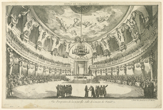 "Horizontal rectangle. View into a circular hall with a cupola, at right. A concert is going on. The public sits in the ground floor and upon a gallery along the walls. Some men are standing in the foreground. Caption above, inverse: ""SALLE DE CONCERT DE VENISE""; below at right: ""a Paris chez Daumont Rue St. Martin""."