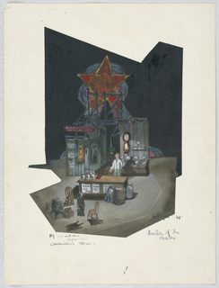 Vertical rectangle. Act I, Scene 1, Gashwiler's General Store. A set for a thrust stage, with a large star at rear. A wall outfitted with various objects and adjacent counter represent a store. One figure stands behind the counter while another, faces upstage.