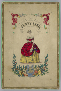 Cover for box that contains the Jenny Lind paper doll with costumes.  The cover has a full-length portrait of the singer.  The inside cover identifies the ten costumes (in German and English, and showing a three-quarter portrait of Jenny Lind).