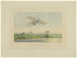 "A steam airship is seen over the pyramids of Egypt. Below, title: ""By Permission of the Patentees / This Engraving of the First Carriage, the Ariel"", and the engraver's name."
