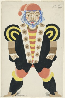 """Costume design for the character King Henry VIII for a production of """"Catherine Parr, or Alexander's Horse,"""" a one-act play written by Maurice Baring and performed by the Arts League of Service. The figure of the King stands frontally with legs apart, wearing a stylized black and yellow costume. The shoulders of the costume are patterned in concentric yellow and black bands; the lapel of the King's black jacket is white with brown flowers; under the jacket is a shirt with yellow and red stripes and red stockings. The King has a blue moustache, beard, and hair, and wears a red cap."""