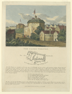 Print, Exterior View of the Globe Theater and Map Showing Its Location, after a 1612 view of London, 1810
