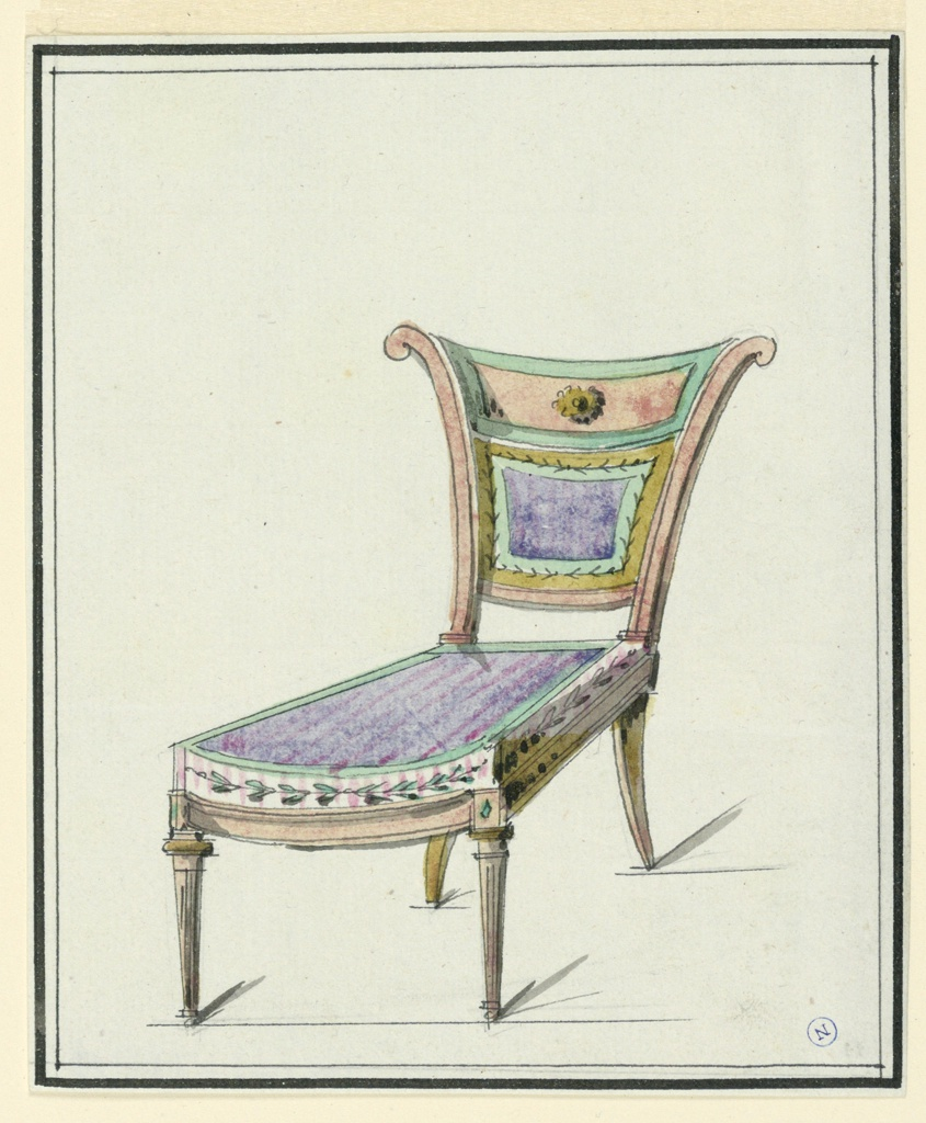 Side chair, elongated seat upholstered in purple, bordered with leaf motif on pink and white stripe.  Fan-shaped back, rectangular panel with central rosette upholstered back rest.