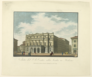 "Horizontal rectangle. A framing line covers part of ""F. Durelly dis dal veró."" At right: ""A Biasioli inc."" Caption: ""Veduta del T. R. Teatro alla Scala in Milano / Milano presso Francesco Bernucca contrada di tre Ré No. 4091."""