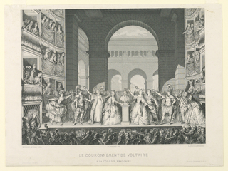 Print, The Crowning of Voltaire at the Comedie Francaise