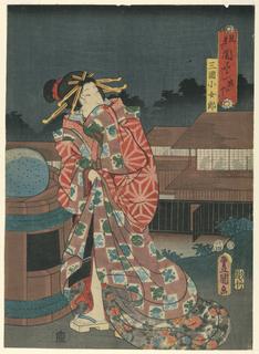 Woodblock Print, Geisha, 1855