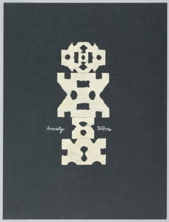 "A white, abstract geometric composition or ""totem"" is seen frontally, set against a black background. The words ""Anxiety"" and ""Totem"" appear on either side of the composition."