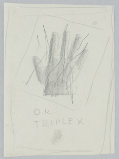 Study for an Advertisement for Triplex Shell Oil. Sketch of the back of a hand, crossed through with lines. An angled square frames the hand. In graphite, lower center: O.K. / TRIPLEX