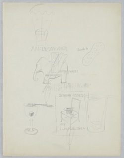 "Studies in graphite for various advertising campaigns, including American Airlines, New York Subways Advertising Company, and the Broadway musical ""Anything Goes"". Upper left: house suspended by hot air balloon; text above: AMERICAN AIRL. Upper right: peanut with text: ""peanuts to""; center: elephant in profile, superimposed with three feathers and text: ANYTHING GOES / ANYTHING GOES, above block text: AIR FREIGHT. Lower left: goblet with sugar cube and fork balanced on rim (likely absinthe glass). At center: chair with upturned hat resting on seat, with text above and below: SUBWAY POSTERS / ARE / SILENT SALESMEN, inscribed in a rectangle, superimposed with feather; overlapping drawing of of glass with sugar cube and fork balanced on rim."