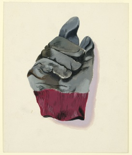 Depiction of a worn gray and magenta glove.