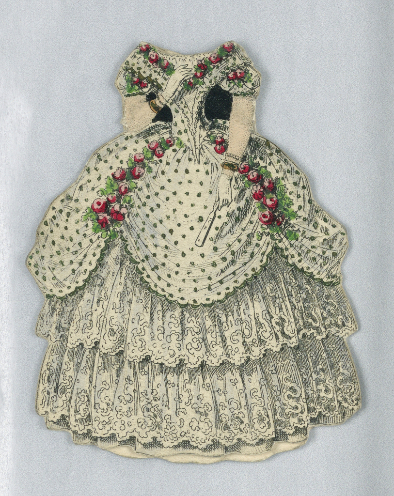 The bodice of this dress is white with black spots and flows into the top layer of a full skirt.  The bodice is lined with garlands of pink roses.  Below the top layer of skirt are two tiers of lace ruffles. Both the back and the front of this dress are depicted.