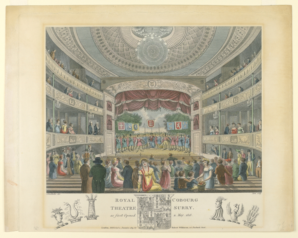 Print, Interior View of the Coburg Theater, London, 1819