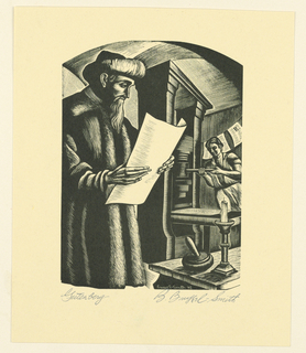 The figure of Gutenberg, shown three-quarter length, stands left foreground, holding a large sheet of paper. Printing press and worker in background, right.