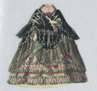 Black shawl over pink and green tiered skirts; green parasol in right hand and pink parasol in left.