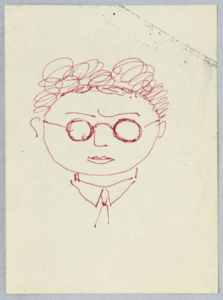 Drawing, Sketch of a Man Wearing Glasses