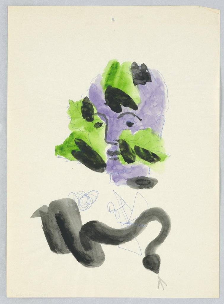 Study for an illustration or a motif, possibly for Green Mansions. At center, a purple face peeks out from green and black leaves surrounding it. Below, a black snake with forked tongue. Between the face and the snake, two scribbled lines in blue.