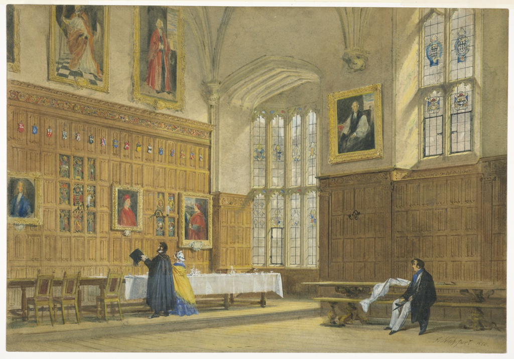 Drawing, View of the Dining Hall in Magdalen College, Oxford