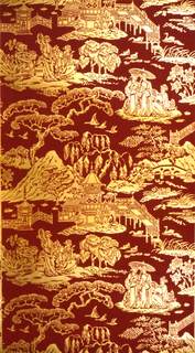 Chinoiserie, with scenes of Japanese women, bridges, ducks, pagodas, cyprus trees. Printed in red flock on gold ground. Pattern no. 668431.
