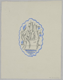 Design for a title page illustration of Herman Melville's Benito Cereno. At center, contained within a blue, wavy, oval frame resembling, a ship with unfurled sails on the water. ship's mast and sails.