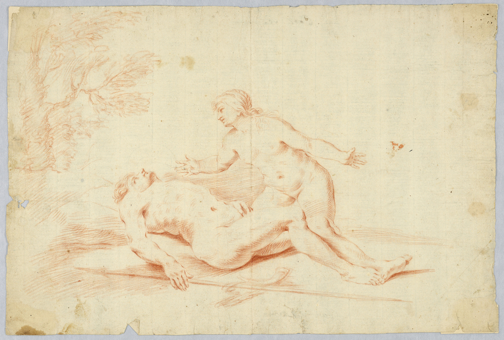 The nude goddess kneels behind and gazes at a young man lying on the couch with his head at left. Spear and horn are lying in the foreground. A tree is shown at left. Attributed to Pasquale Marini.