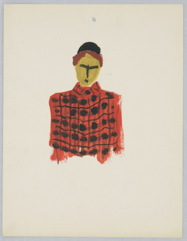 Study of a figure facing frontally, depicted from the waist up, wearing a red and black plaid jacket. The figure's facial features are roughly rendered by thick black lines. The figure has short auburn hair and wears a black pillbox hat. At center top, a single hole punch.