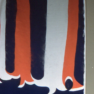 Printed in dark blue and orange assimilating the original white color of silk material within the pattern. Pattern shows large, bold abstract shapes. Length made up of three full pattern repeats.