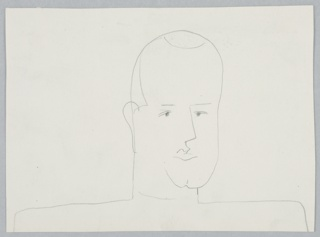 Study of a human head and shoulders. Head is seen turned a quarter right, and is depicted with a cleft chin and a receding hairline.