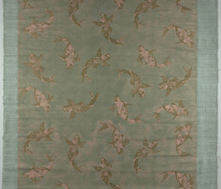 Dolphins facing in various directions. Metallic pink and brown on blue dyed ground. Pattern measures 122cm (48 in.) leaving a wide margin at each side.