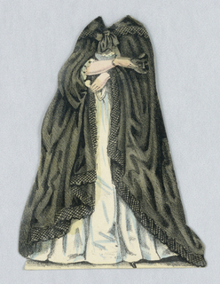 Paper doll costume for the figure of Jenny Lind representing Donna Anna from the opera Don Juan.   Designed to be placed over the doll.