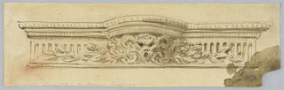 Design for an entablature with a hemispherical convex curve at center. A horned mask with leaves at the center of the frieze.