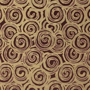 Purple satin patterned with gold silk in an allover design of overlapping spirals.